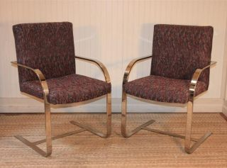 Pair Vtg Mid Century Modern Chrome Flat Bar Cantilever Chairs Knoll Brno Style photo