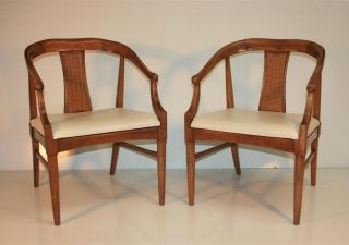 Pair Mid Century Modern Asian Chinoiserie James Mont Style Chairs By Thomasville photo