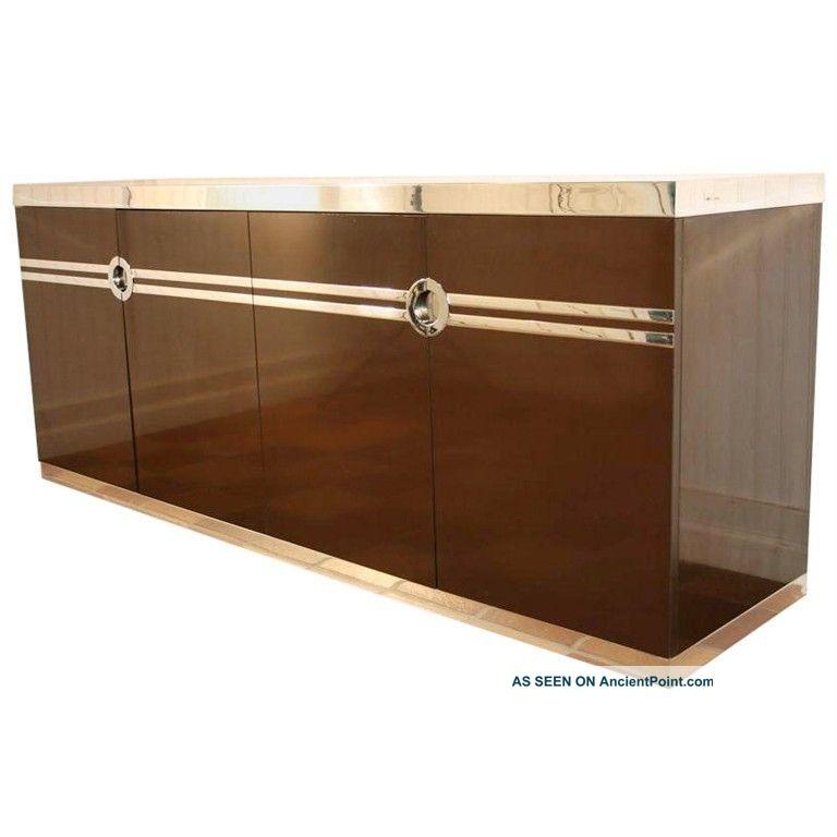 Vtg Mid Century Modern Pierre Cardin Chocolate Brown Cabinet Credenza Sideboard Post-1950 photo