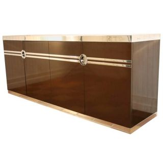 Vtg Mid Century Modern Pierre Cardin Chocolate Brown Cabinet Credenza Sideboard photo