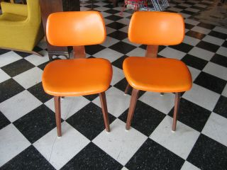 Vintage Pair Of Mid Century Modern Thonet Chairs W/ Bright Orange Upholstery photo