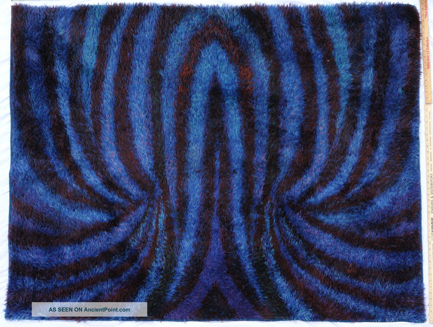 Danish Modern Rya Ege Shag Rug In Gorgeous Blue Vintage Op Art Pattern Medium (4x6-6x9) photo
