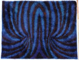 Danish Modern Rya Ege Shag Rug In Gorgeous Blue Vintage Op Art Pattern photo