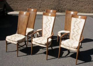 6 Mid Century Modern Sculpted Cane Back Dining Chairs W 2 Armchairs Dunbar Style photo