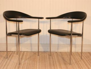 Pair Vtg Mid Century Modern Fasem Italian Chrome Vinyl Arm Chair Made In Italy B photo