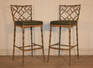 Pair Hollywood Regency Faux Bamboo Chippendale Metal Bar Stools Dining Chairs photo