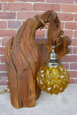 Vtg Mid Century Driftwood Swag Table Lamp 1960s - 70s photo