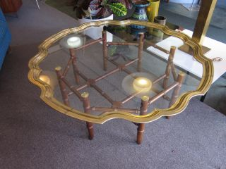 Spindled Wood And Brass/glass Cocktail Table By Baker C1960s photo
