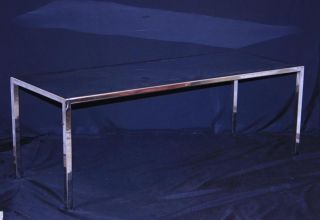 Vtg Mid Century Industrial Modern Chrome Plated Polished Steel Coffee Table photo