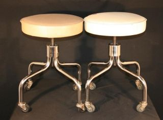 Pair 2 Vtg Steelcraft Industrial Adjustable Work Stools Machine Age Mid Century photo
