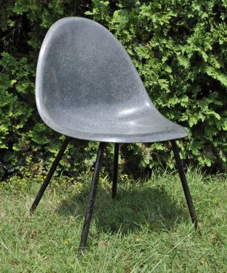 Mid Century Herman Miller Rounded Steel Gray Fiberglass Eames Era Shell Chair photo