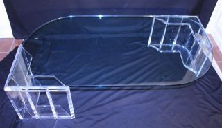 Rare Vtg Mid Century Modern Lucite & Glass Counterbalance Coffee Cocktail Table photo