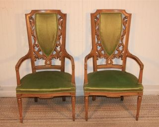 Pair Vtg Tall Back Hollywood Regency Mid Century Modern Flame Carved Arm Chairs photo