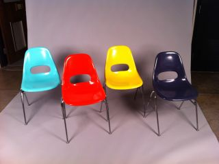 Set Of Four Vintage Mid Century Fiberglass Chairs photo