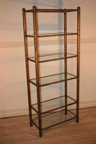 Vtg Hollywood Regency Faux Bamboo Mid Century Modern Metal Gold Etagere Bookcase photo