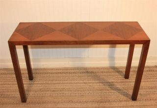 Lane Vtg Mid Century American Modern Parquet Top Hall Parsons Console Sofa Table photo