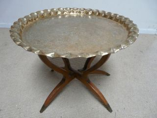 Anglo Indian Mid Century Coffee / Side Table Brass Top photo