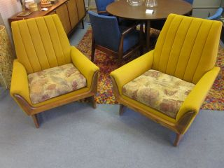 Excellent Pair Of Mustard Danish Style Loungers By Kroeler C1960s photo