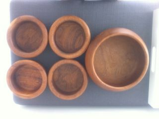 Vintage Mid Century Woodenware Teak Salad Set W/ Winsome Teak Wood Bowl Modern photo