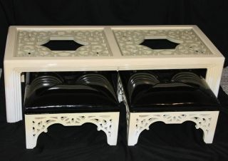 Vintage Hollywood Regency Chinoiserie Coffee Table W Pair Tufted Stools Ottomans photo