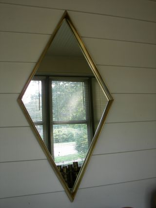 Hollywood Regency Mid Century Diamond Gold Gilt Wall Mirror Parzinger Draper Era photo