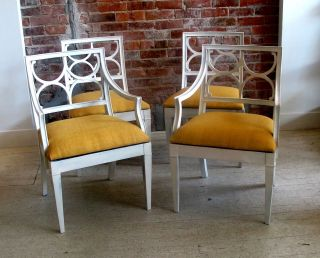 Set Of 4 White Lacquer Hollywood Regency Parzinger Style Dining Chairs photo