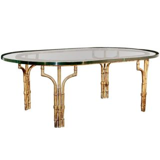 Vtg Hollywood Regency Gold Gilt Metal Faux Bamboo Oval 1 Inch Glass Coffee Table photo