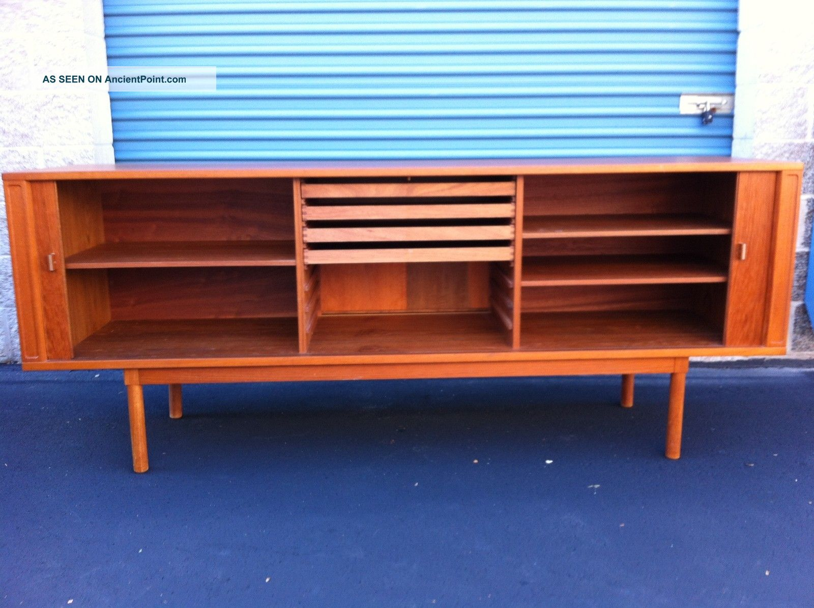 Danish Floating Credenza : Vintage danish teak credenza with floating hutch by jens