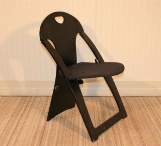 Vtg Mid Century Modern Peter Danko Black Plywood Sculpted Folding Chair Plycraft photo