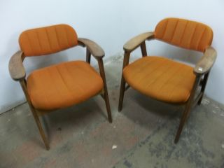 Pair Of Vintage Mid Century Danish Modern Arm Lounge Chairs,  Teak,  Orange Fabric photo