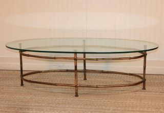 Vtg Italian Hollywood Regency Faux Bamboo Gold Gilt Metal Oval Coffee Table photo