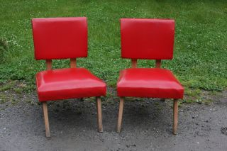 Vintage Retro Mid Century Modernism Pair Red 1940s - 50s Chairs - Style photo