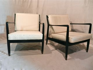 Pair Vintage Mid - Century Danish Lounge Chairs Folke Ohlsson By Dux Black Lacquer photo