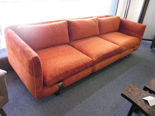 Wonderful 1960s 3 - Seat Sofa With Orange Textured Leaf Fabric photo