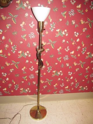 1960 ' S Partridge Peacock ? Bird Hollywood Regency Mid Century Brass Floor Lamp photo