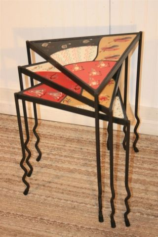 Set 3 Tile Top Wrought Iron Nesting Tables Signed Storopoli Mid Century Modern photo
