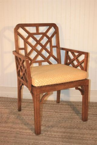 Vtg Hollywood Regency Chinese Chippendale Decorative Arm Chair Faux Bamboo Style photo