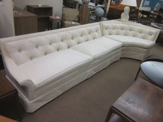 Wonderful 2 - Piece Ivory Sectional Sofa Wcorner Table C1960s photo
