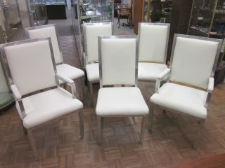 Set Of Six Mid Century Ivory Leather + Aluminum Dining Chairs C1969 photo