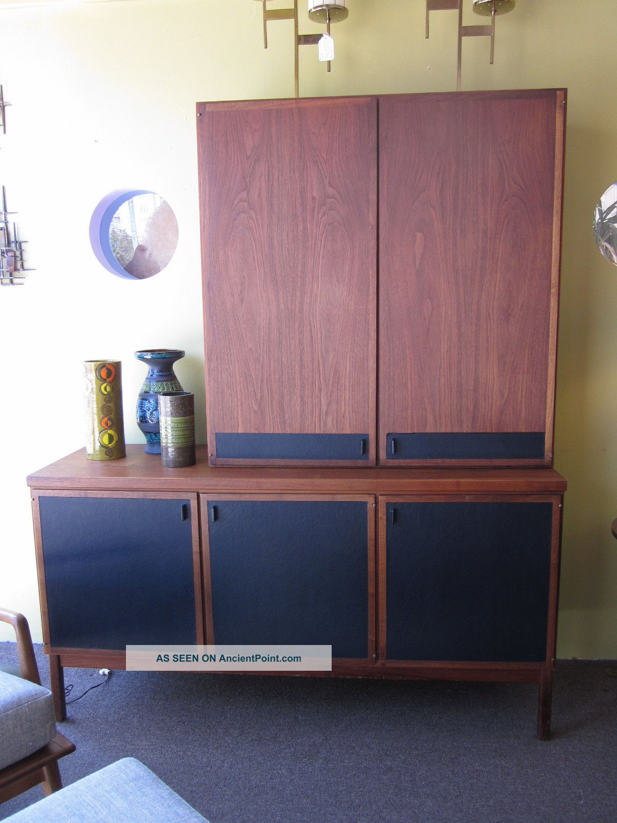 Danish Modern Styled 2 Piece Credenza + Hutch C1960s Attr.  To Dillingham Post-1950 photo