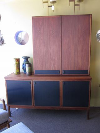 Danish Modern Styled 2 Piece Credenza + Hutch C1960s Attr.  To Dillingham photo