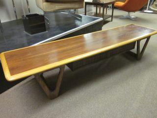 Long Two - Tone Walnut + Oak Lane Cocktail Table C1960s photo
