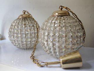 Pair 1960 Crystal Pendant Lobmeyer Ball Chandelier Bakalowits Glass photo