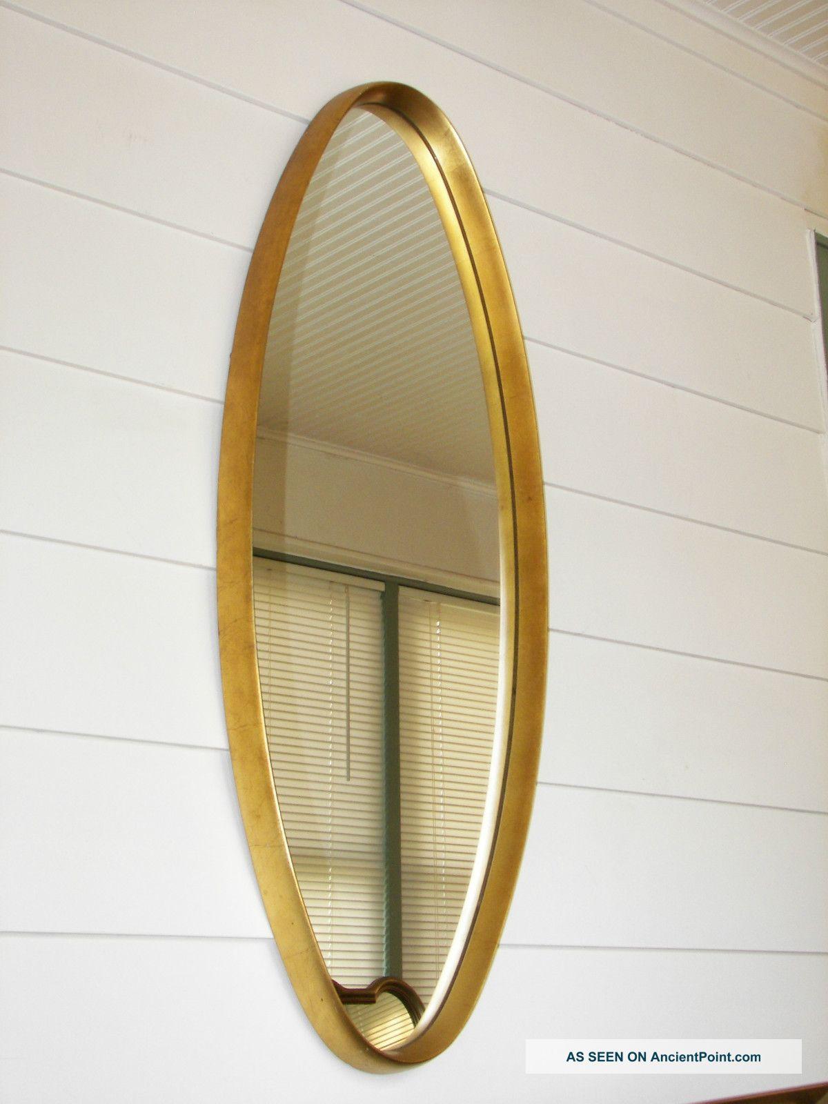 Hollywood Regency Dr Parzinger Era La Barge Gold Leaf Oval Italian Mirror