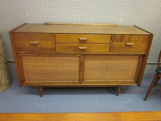 Walnut Buffet/credenza With Rush Paneled Doors By Conant Ball C1960s photo