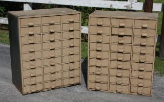 Stunning Pair Of Modernism Industrial Metal Cabinets Each Has 27 Drawers photo