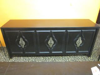 Black Laquered Asian - Styled 6 - Door Sideboard/credenza C1960s photo