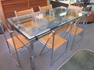 Set Of Six Italian Chrome + Leather Folding Dining Chairs C1970s - 80s photo