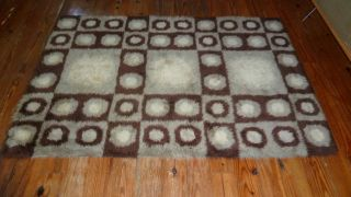 Danish Modern Rya Wool Shag Rug Mid Century Eames Era photo
