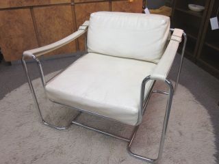 Cool Mod Chrome And White Faux Leather Lounge Chair C1970s photo